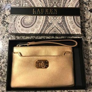 Ralph Lauren Gold Leather Wristlet Bag